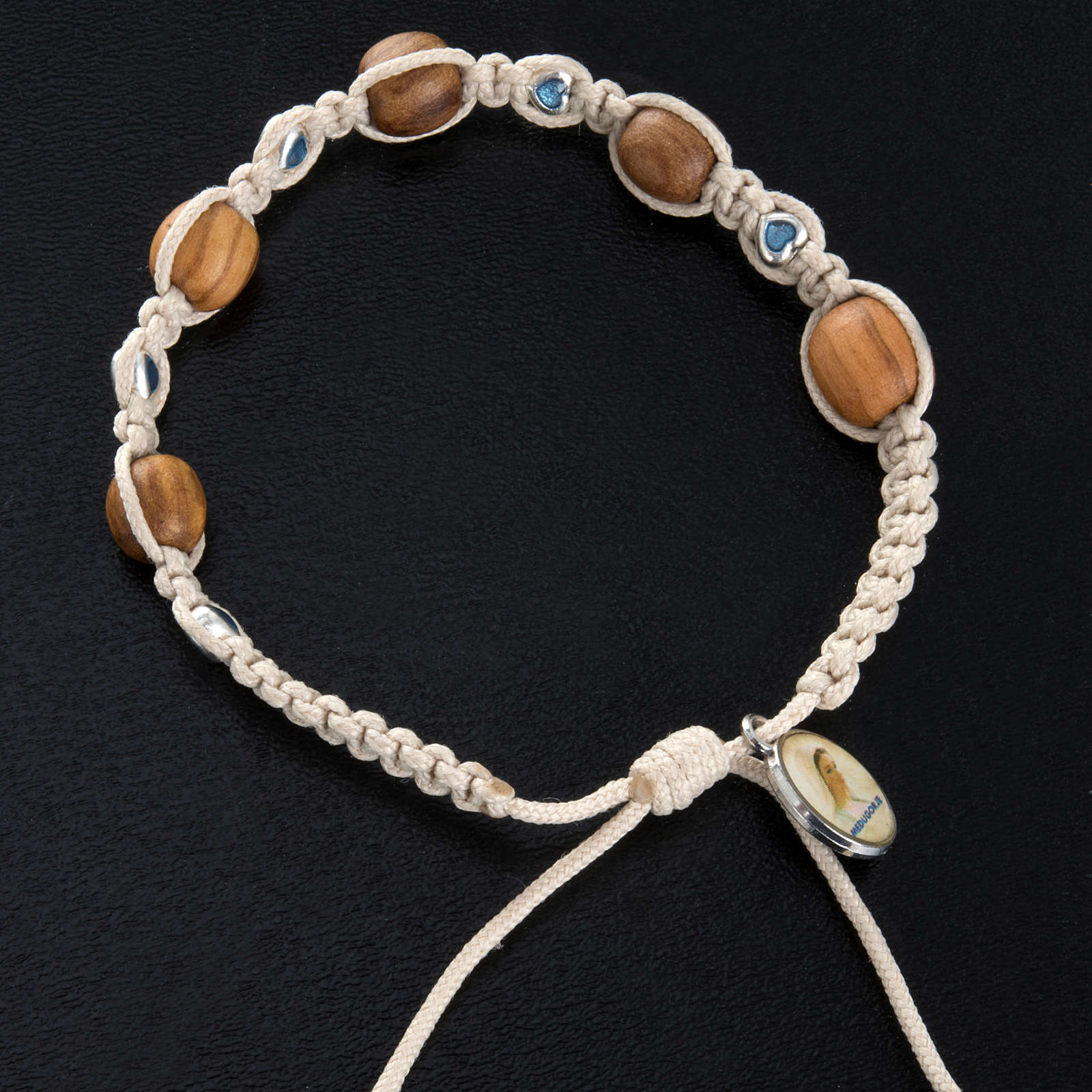 Bracelet with olive wood and coloured hearts 4