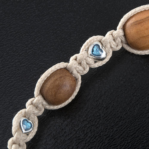 Bracelet with olive wood and coloured hearts 3