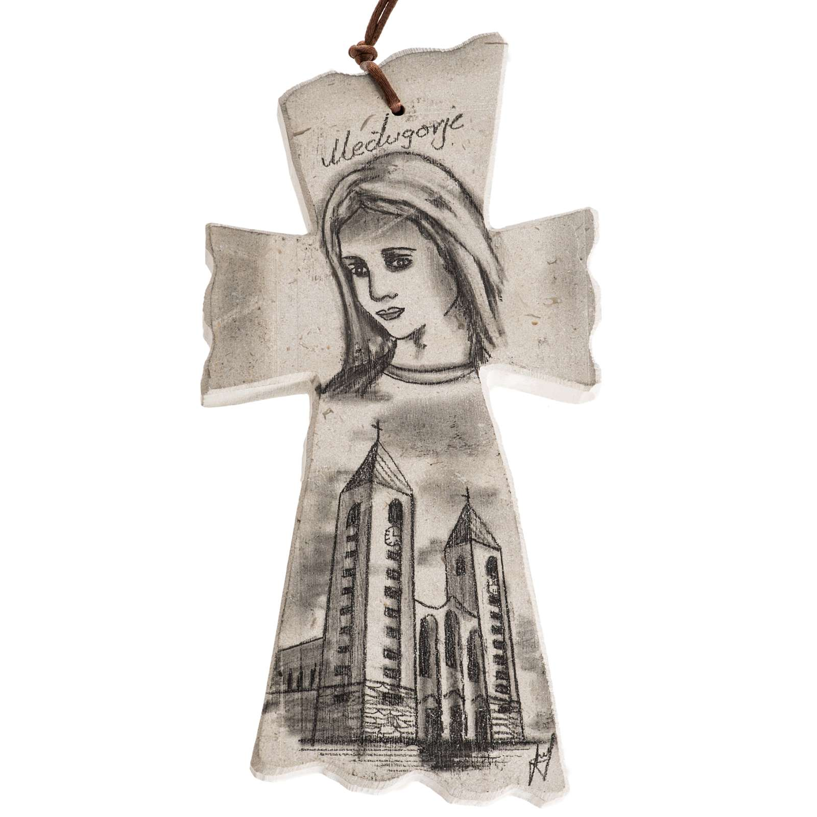 Cross with face of Mary and Medjugorje church 4