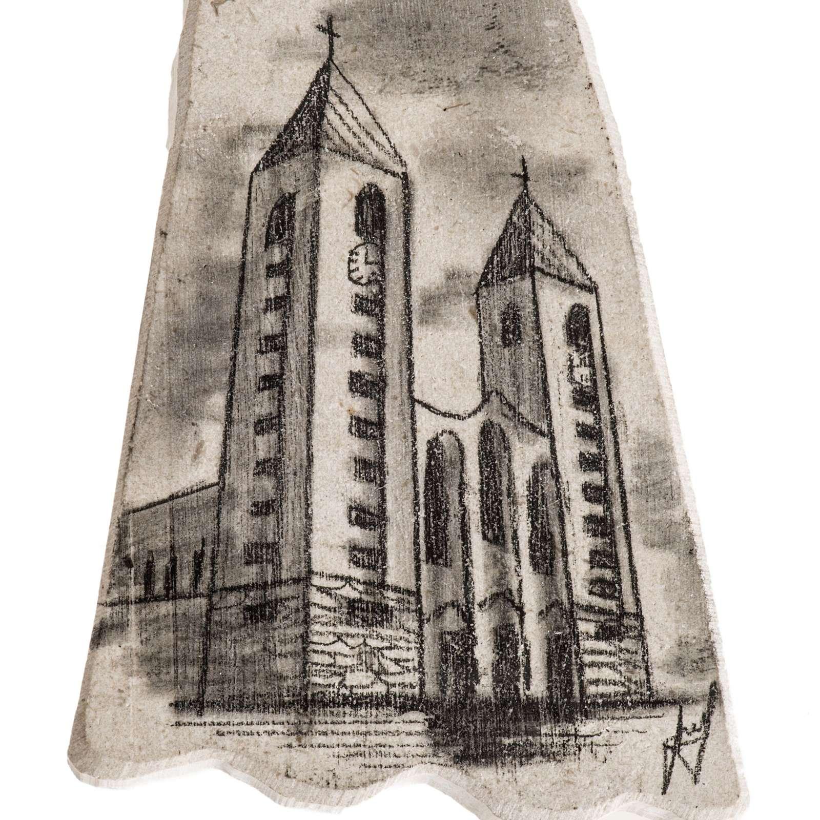 Croix pierre visage Vierge Marie et église Medjugorje 4