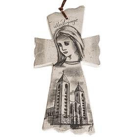 Croix et aimants: Croix pierre visage Vierge Marie et église Medjugorje