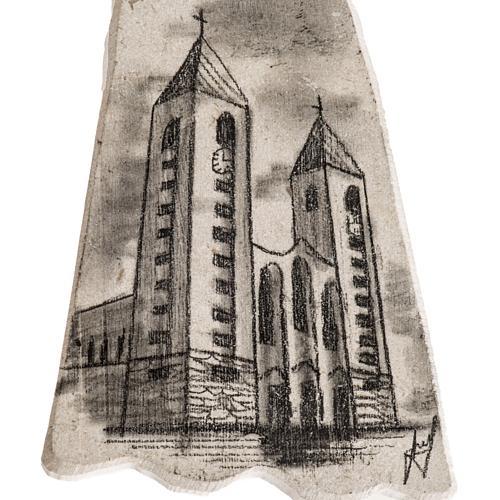 Croix pierre visage Vierge Marie et église Medjugorje 3