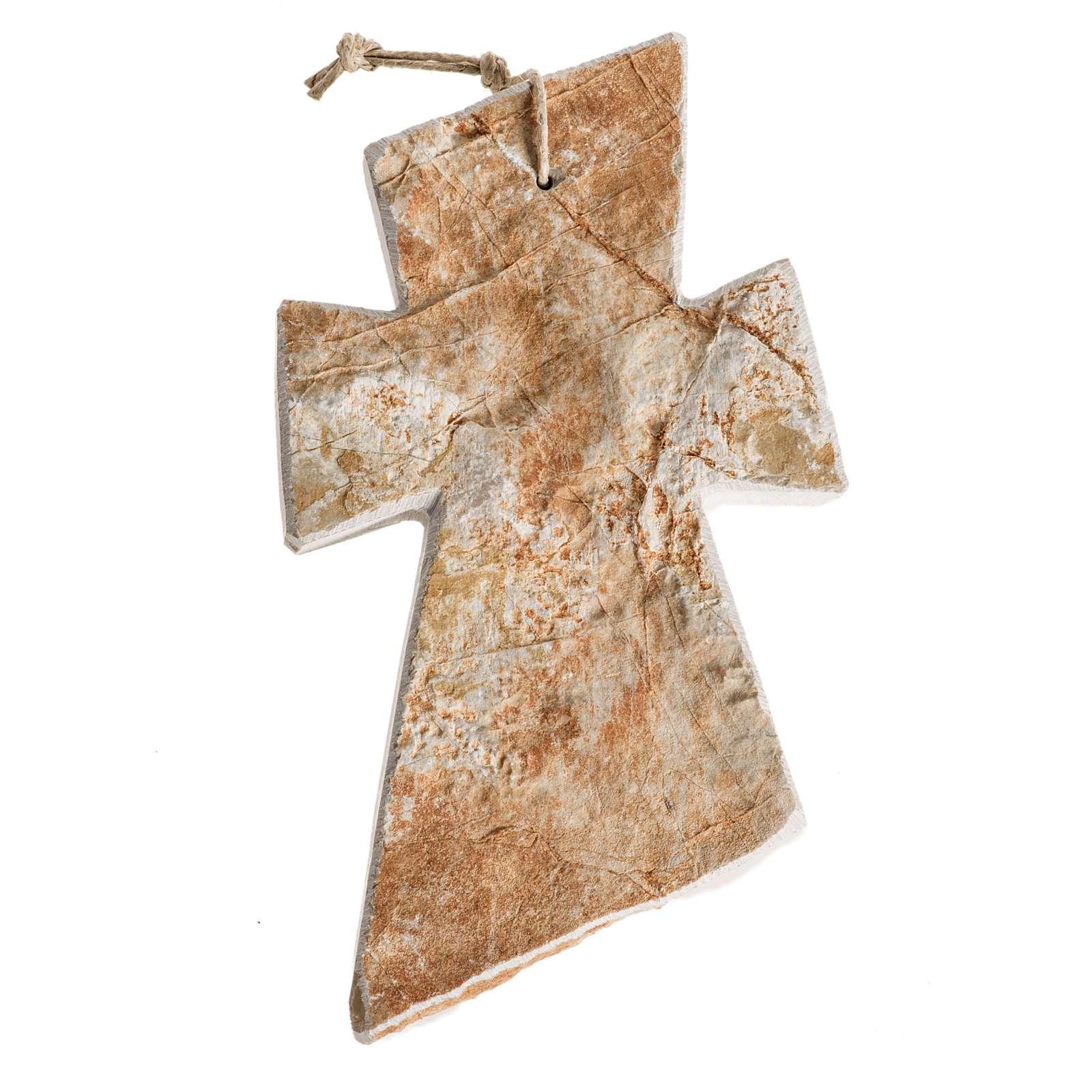 Croix pierre rouge Medjugorje 13x8 cm 4