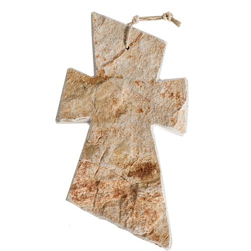 Krzyż kamień czerwony Medjugorje 13x8 cm 1