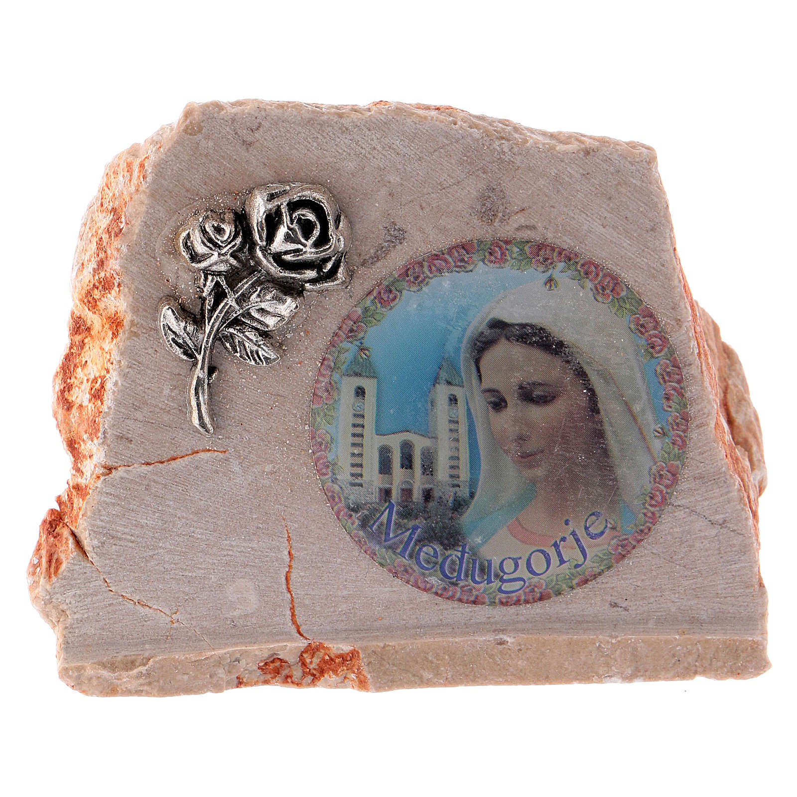 Image of Mary on Medjugorje stone 4