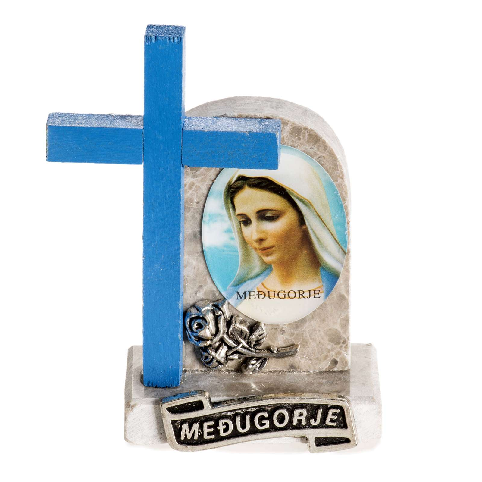Blue cross with image of Mary 4