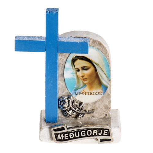 Blue cross with image of Mary 1