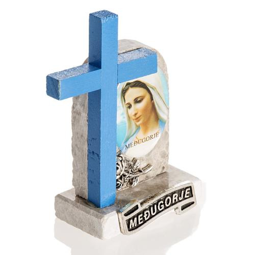 Blue cross with image of Mary 2