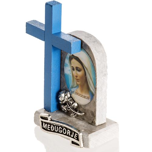 Blue cross with image of Mary 3