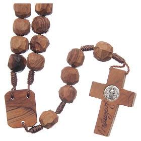 Chapelet Medjugorje bois d'olivier sur corde coeur s2
