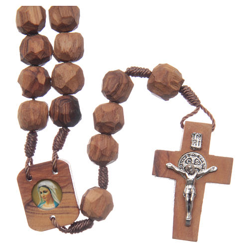 Chapelet Medjugorje bois d'olivier sur corde coeur 1