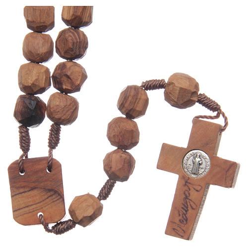 Chapelet Medjugorje bois d'olivier sur corde coeur 2