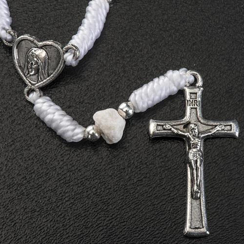 Decena Medjugorje cuerda blanca con corazón 2