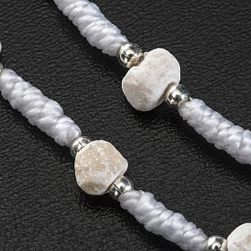 Dezena Medjugorje pedra fio branco medalha coração s4