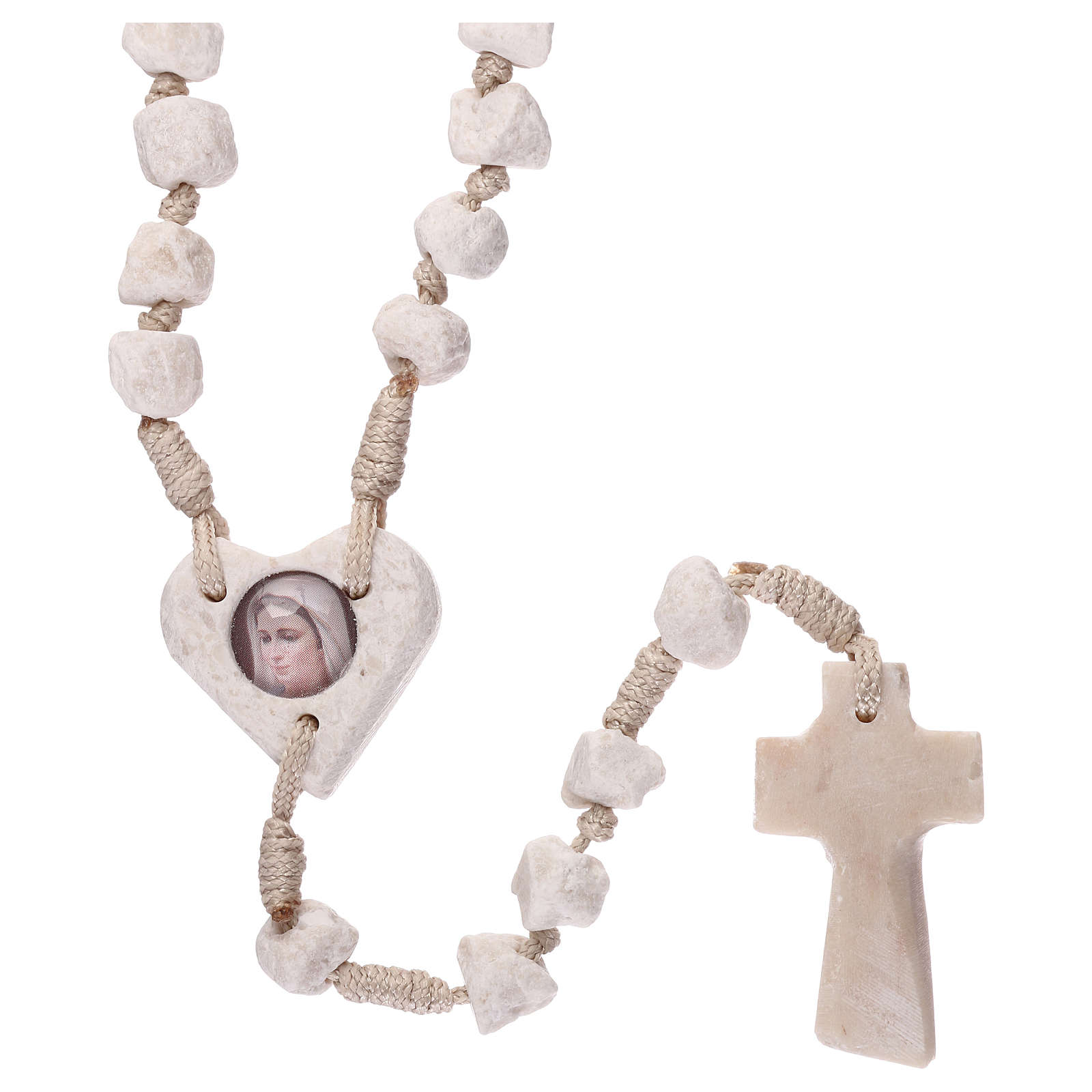 Medjugorje rosary with stone and cord, heart medal 4