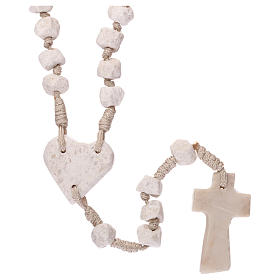 Medjugorje rosary with stone and cord, heart medal s2
