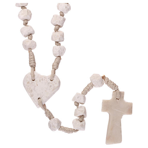 Medjugorje rosary with stone and cord, heart medal 2