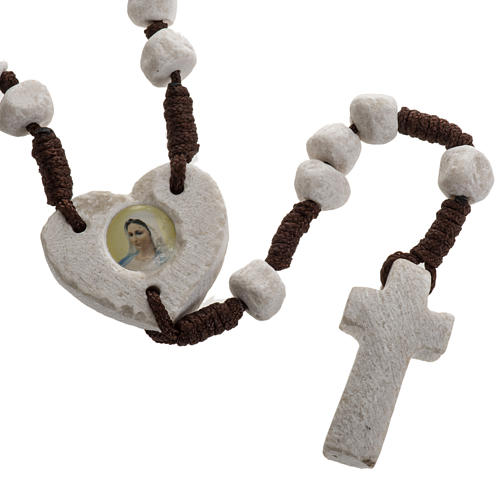 Medjugorje rosary, stone, brown cord, heart medal 1