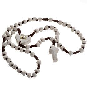 Rosario Medjugorje pietra e corda marrone crociera cuore s2