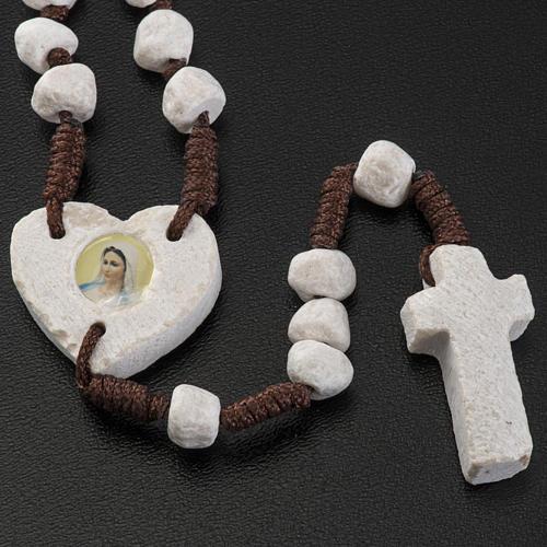 Rosario Medjugorje pietra e corda marrone crociera cuore 3