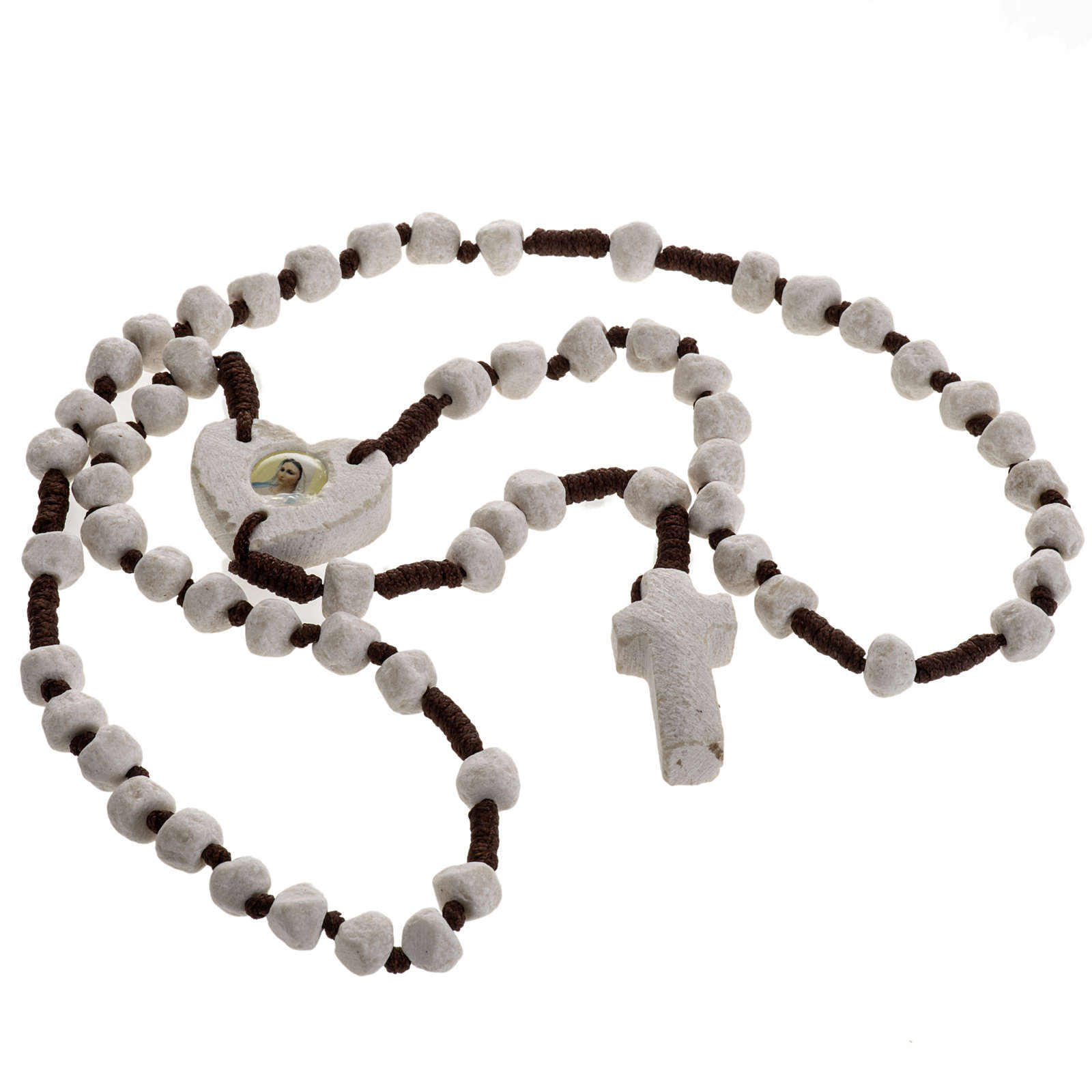 Medjugorje rosary, stone, brown cord, heart medal 4