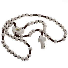 Medjugorje rosary, stone, brown cord, heart medal s2
