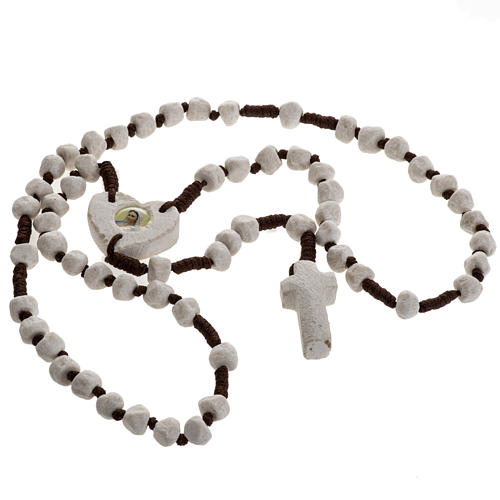 Medjugorje rosary, stone, brown cord, heart medal 2