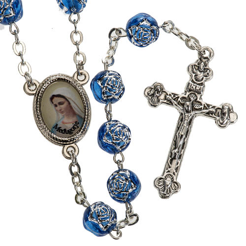 Medjugorje rosary with blue PVC roses and metal 1