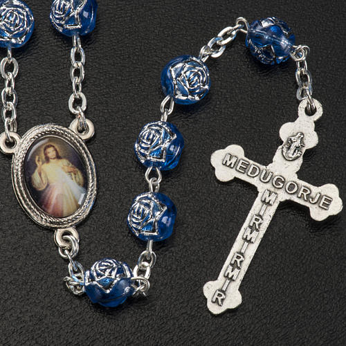 Medjugorje rosary with blue PVC roses and metal 3