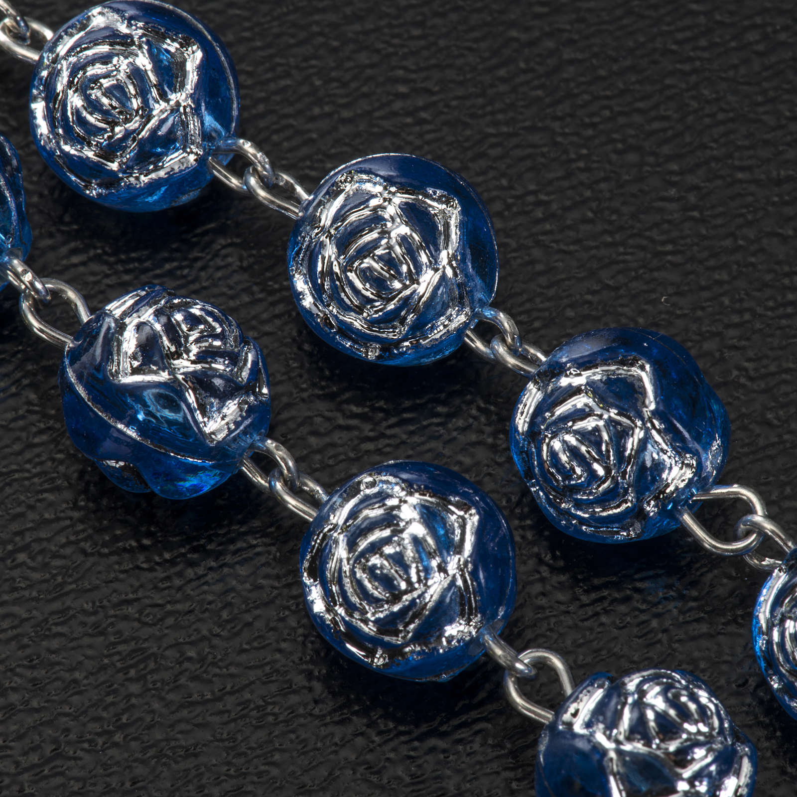 Chapelet Medjugorje roses pvc bleu métal 4