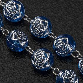 Rosario Medjugorje roselline pvc blu metallo s4