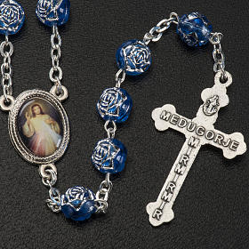Medjugorje rosary with blue PVC roses and metal s3
