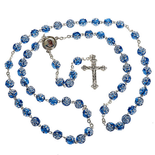 Medjugorje rosary with blue PVC roses and metal 2
