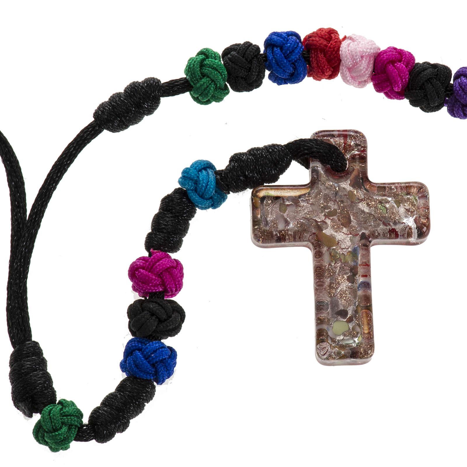 Medjugorje rosary, grains, cord, multicoloured glass cross 4
