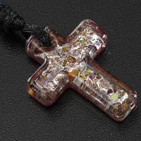 Medjugorje rosary, grains, cord, multicoloured glass cross s3
