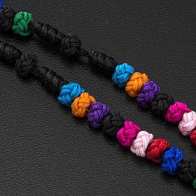 Medjugorje rosary, grains, cord, multicoloured glass cross s4