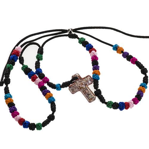 Medjugorje rosary, grains, cord, multicoloured glass cross 2