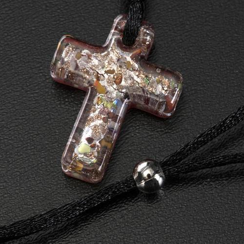 Medjugorje rosary, grains, cord, multicoloured glass cross 5