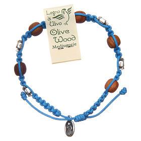 Pulsera decena Medjugorje cuerda azul cuentas olivo s2