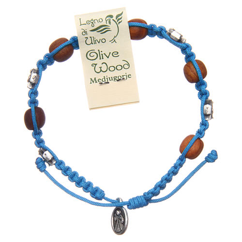 Pulsera decena Medjugorje cuerda azul cuentas olivo 2