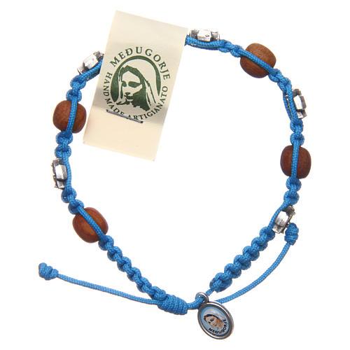 Single-decade Medjugorje bracelet, light blue cord and olive gra 1