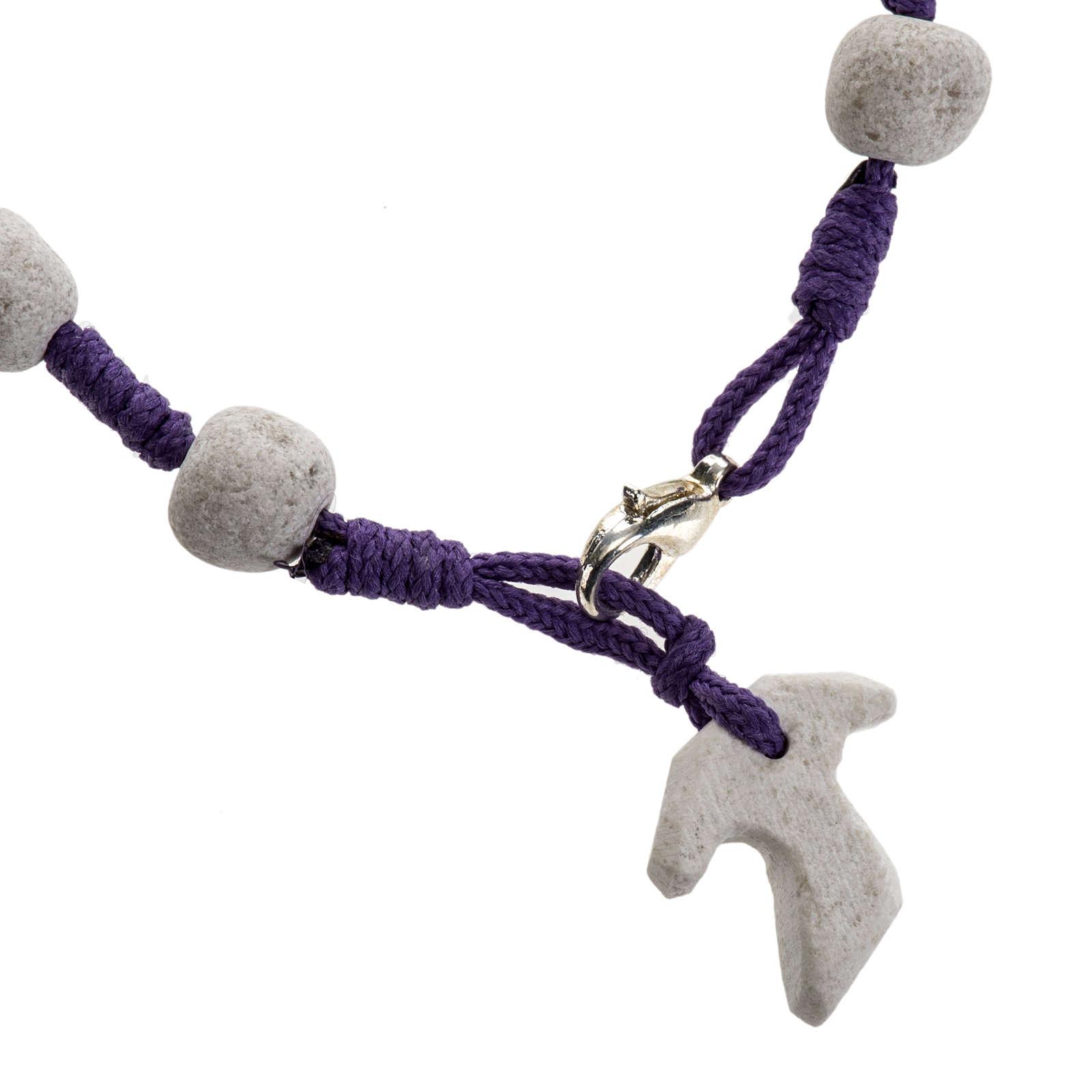 Pulsera de Medjugorje cuerda púrpura y piedra 4