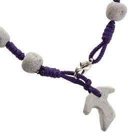 Pulsera de Medjugorje cuerda púrpura y piedra s1