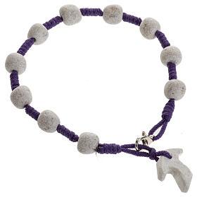 Pulsera de Medjugorje cuerda púrpura y piedra s2
