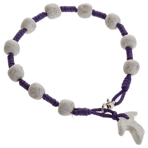 Pulsera de Medjugorje cuerda púrpura y piedra 2