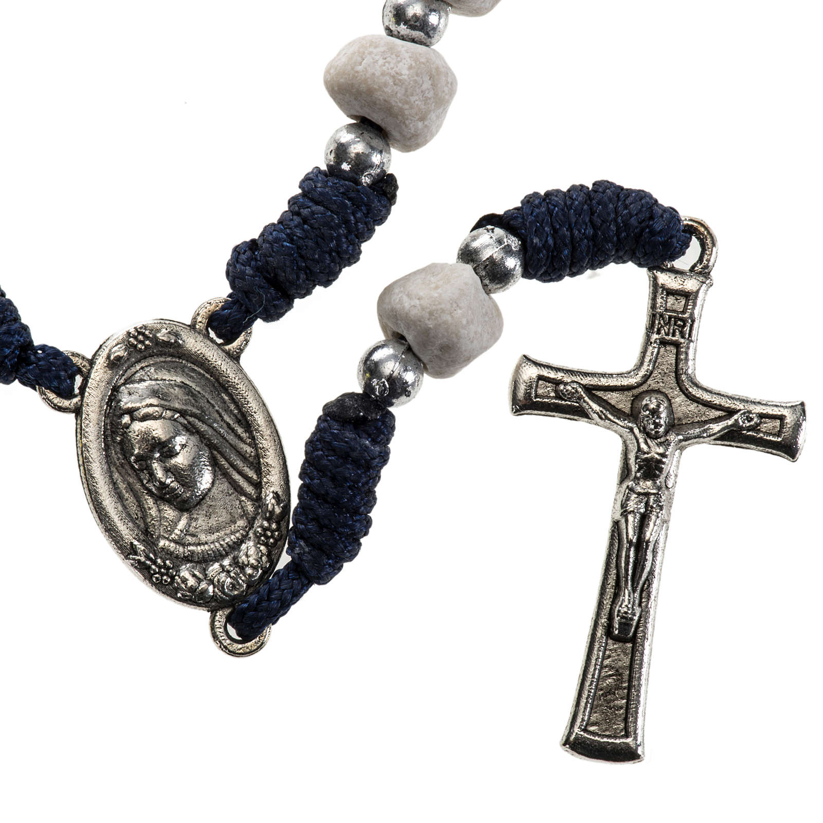 Chaplet with Medjugorje soil, blue cord and stone 4