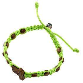 Medjugorje bracelet tau cross, olive wood grains and green cord s1