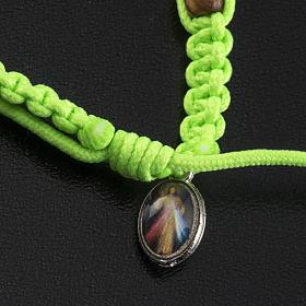 Medjugorje bracelet tau cross, olive wood grains and green cord s4