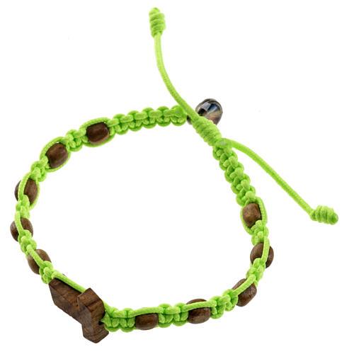 Medjugorje bracelet tau cross, olive wood grains and green cord 1