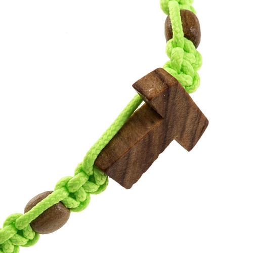 Medjugorje bracelet tau cross, olive wood grains and green cord 2